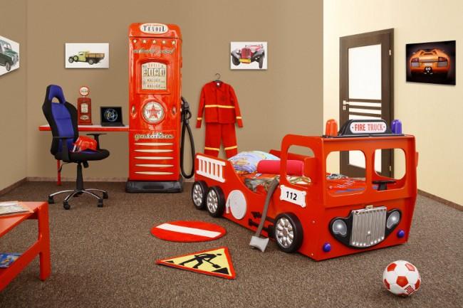 Letto A Castello Pompieri.Cameretta Dei Pompieri In Stile Vigili Del Fuoco Per I Bambini