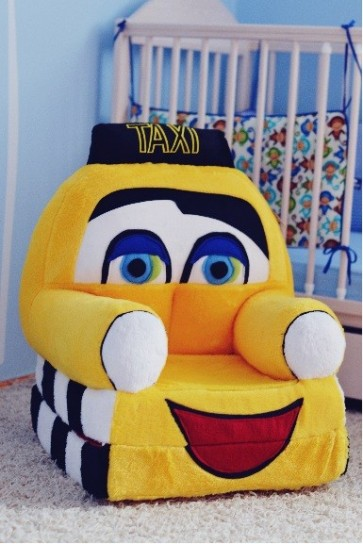 Poltrona di peluche pieghevole per bambini-Taxi giallo