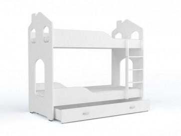 Letto a castello bianco con contenitore , 5 colori decorativi (80x180) - materasso in regalo Domi