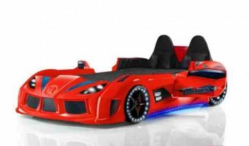 Letto a forma di macchina con sedili in pelle rosso – GTR