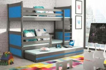 Letto a castello (grigio) con letto per gli opsiti, blu