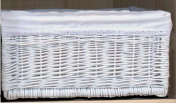 Cesto di vimini bianco foderato (piccolo o grande)-cameretta neonato-Colette bianco