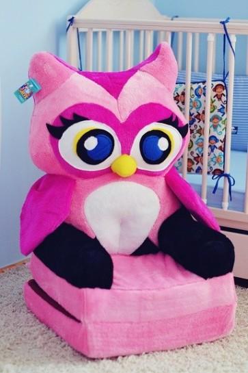 Poltrona di peluche pieghevole per bambini-Pink Gufo