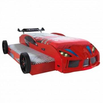 Letto a forma di macchina con letto per gliospiti -aperto - rosso – GTR2 DOUBLE
