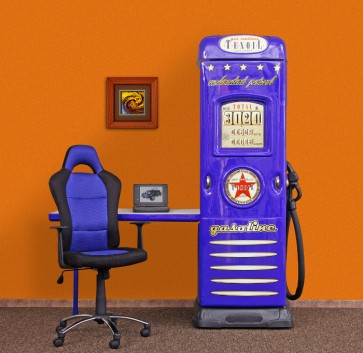 Armadio scrivania bambino bambini Oil Station - blu