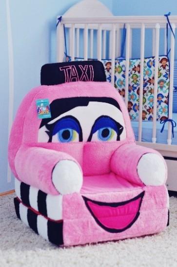Poltrona di peluche pieghevole per bambini-Pink taxi