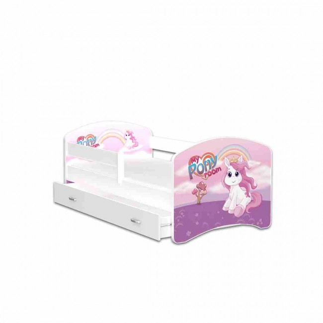 Letto per bambini con vano contenitore 80x160 materasso in regalo pony - Letto per bambini 160 80 ...