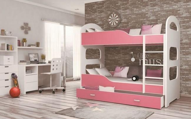 Letti A Castello Rosa.Letto A Castello Bianco Con Contenitore 5 Colori Decorativi 80x180 Materasso In Regalo Domi