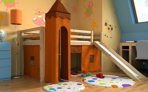 Letto a soppalco pino con torre e scivolo in regalo il materasso e la tenda ada - Cerco letto a castello in regalo ...