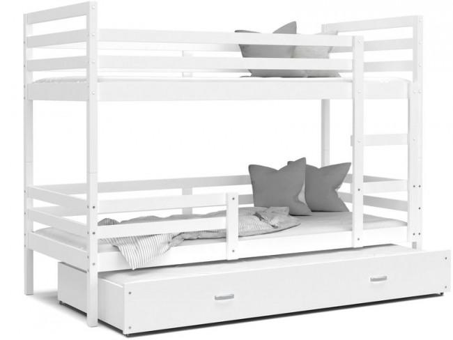 Letto a castello con terzo estraibile bianco con 5 decorazioni  80x190-materasso in regalo-Jack 3 MDF