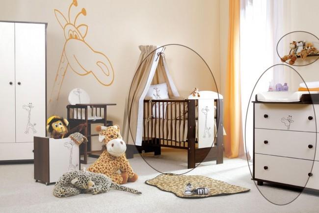 Camerette Per Neonati Femmine : Cameretta per neonati set safari noce color panna giraffe