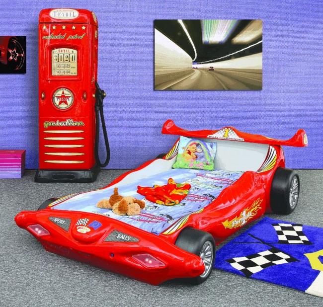 Letto macchina formula 1 f1   rosso   e materasso a gratuito