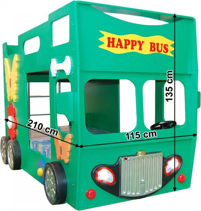 Letto A Castello A Forma Di Autobus.Letto Happy Bus Verde E Materasso A Gratuito