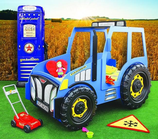 Letto trattore blu e materasso a gratuito - Letto macchina per bambini ...