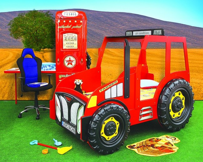 Letto Castello Trattore : Letto trattore rosso e materasso a gratuito