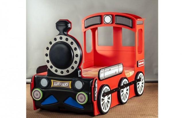 Letto a forma di locomotiva in quattro colori per bambini - Letto per bambini a forma di macchina ...