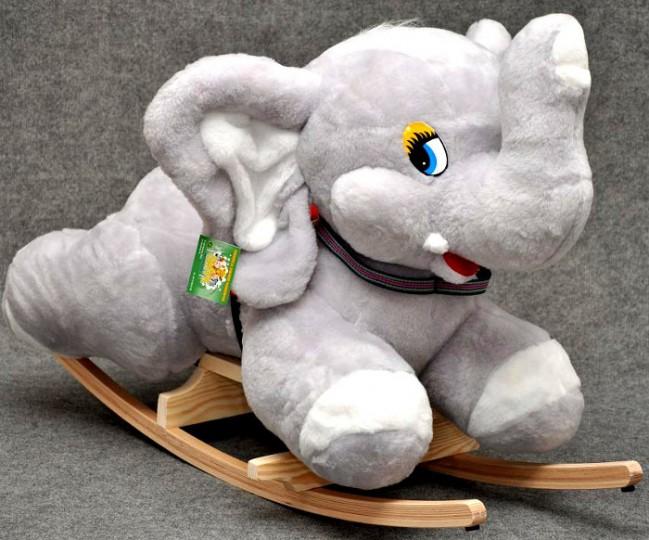 Cavallo A Dondolo In Peluche.Dondolo Peluche D Elefant Grigio