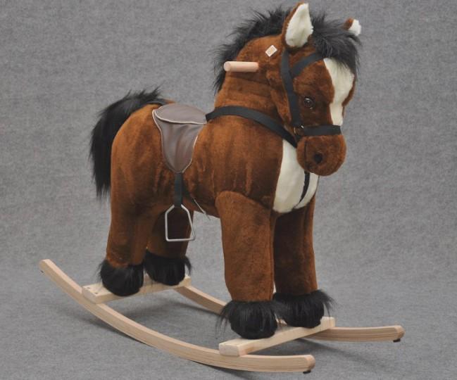 Cavallo Dondolo Per Bambini.Cavallo A Dondolo Peluche Marrone Alto