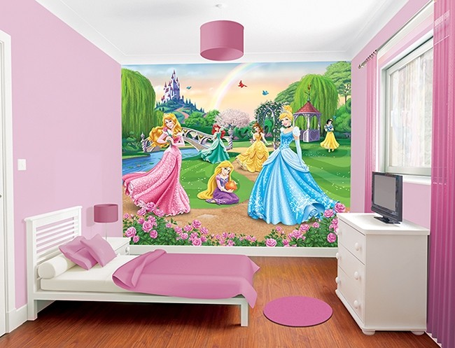 Cameretta Disney Principesse : Tappezzeria per bambini disney principesse