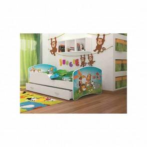 Letto per bambini con vano contenitore (80x160) – materasso in regalo – Giungla