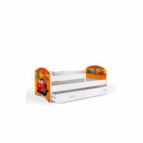 Letto per bambini con vano contenitore (90x200 – materasso in regalo – Speed Race