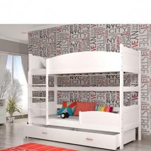 Bianco letto a castello con vano contenitore con 6 decorazioni materassi in regalo_Twist