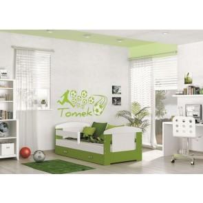 Letto per bambini con vano contenitore , verde (80x160) – materasso in regalo– Filippo