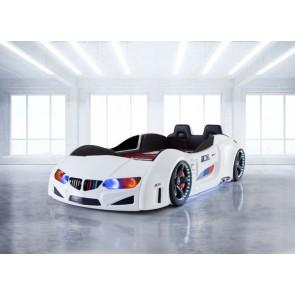 Autoletto a forma di BMW per bambini – bianco, full extra con porta aperta e sedie