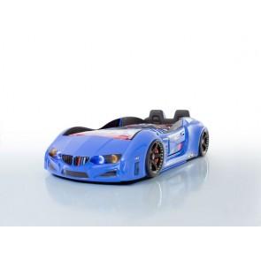 Autoletto a forma di BMW – blu, full extra con porta aperta e sedie