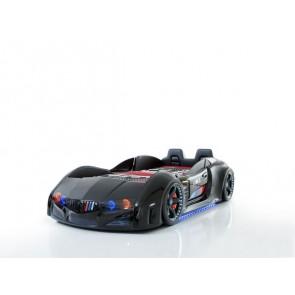 Autoletto a forma di BMW – nero, full extra con porta aperta e sedie