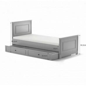 Letto grigio con  letto per gli ospti(90x200) - Babystyle Inez