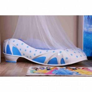 Letto a forma di scarpe da donna in color bianco-blu