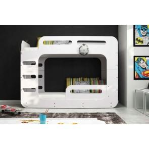 Letto a castello bianco per bambini (80x200) - Materassi in regalo! - MIDI 2