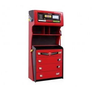 Cilek Racer Champion armadio per bambini con cassetti – distributore di benzina (rosso) - CIL-20.35.1201.00