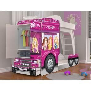 Letto a castello a forma di camion per bambine