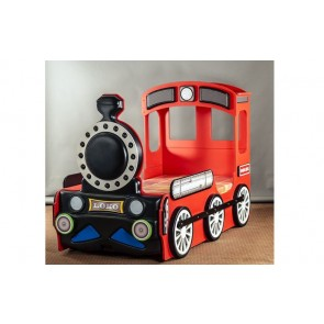 Letto a forma di locomotiva in quattro colori per bambini