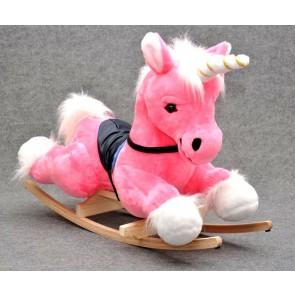 Cavallo a dondolo peluche d'unicorno (pink)