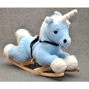 Cavallo a dondolo peluche d'unicorno (azzurro)
