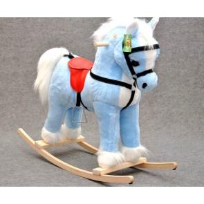 Cavallo a dondolo peluche azzurro,alto