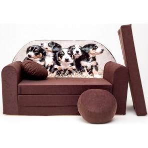 1 - cuscino rotondo in colore del divano + pouf rotondo (marrone)