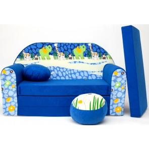 1 - cuscino rotondo in colore del divano + pouf rotondo (blu)