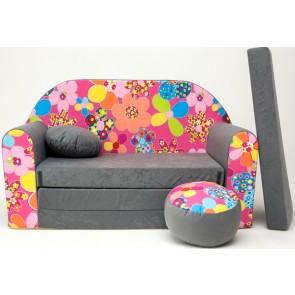1 - cuscino rotondo in colore del divano + pouf rotondo (grigio)