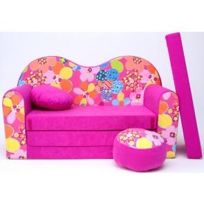 1 - cuscino rotondo in colore del divano + pouf rotondo (pink)