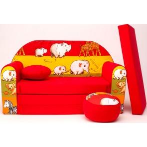 1 - cuscino rotondo in colore del divano + pouf rotondo (rosso)