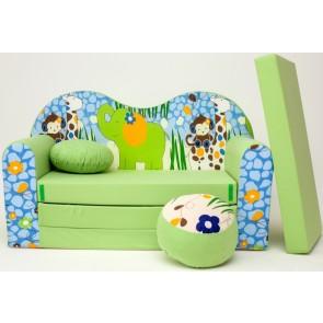 1 - cuscino rotondo in colore del divano + pouf rotondo (verde)