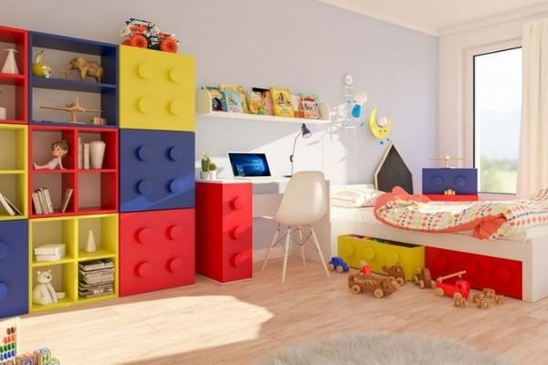 Camerette per bambini con mobili a forma di cubo