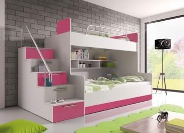 Letto a castello per bambini, bianco opaco / bianco lucido e rosa brillante