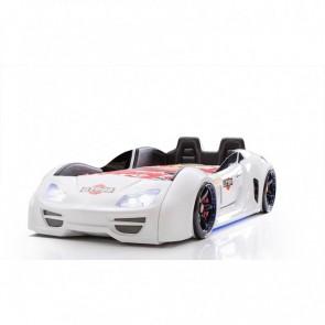 Grand Prix Enzo auto letto -bianco, full, porta aperta con sedili in pelle