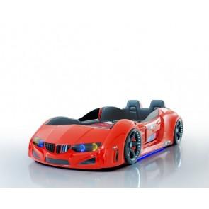 Autoletto a forma di BMW per bambini – rosso, full extra con porta aperta e sedie