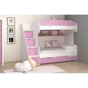 Letto a castello in 4 colori per bambini 190x90 - bianco-rosa - LARA